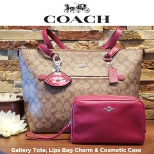 NEW Coach Gallery Tote, Lips Charm & Cosmetic Case